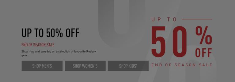 Reebok, off to 50% - end of season sale