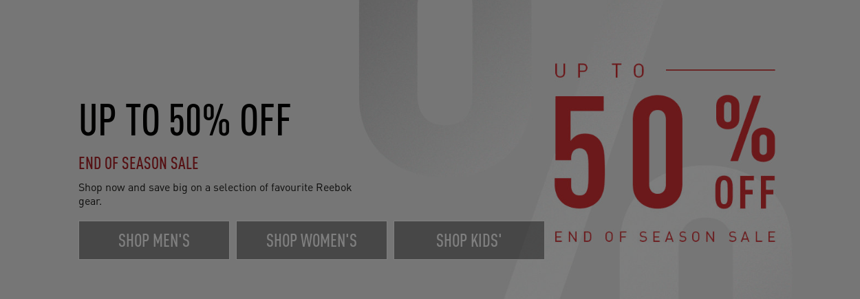 Reebok, off to 50% - end of season sale